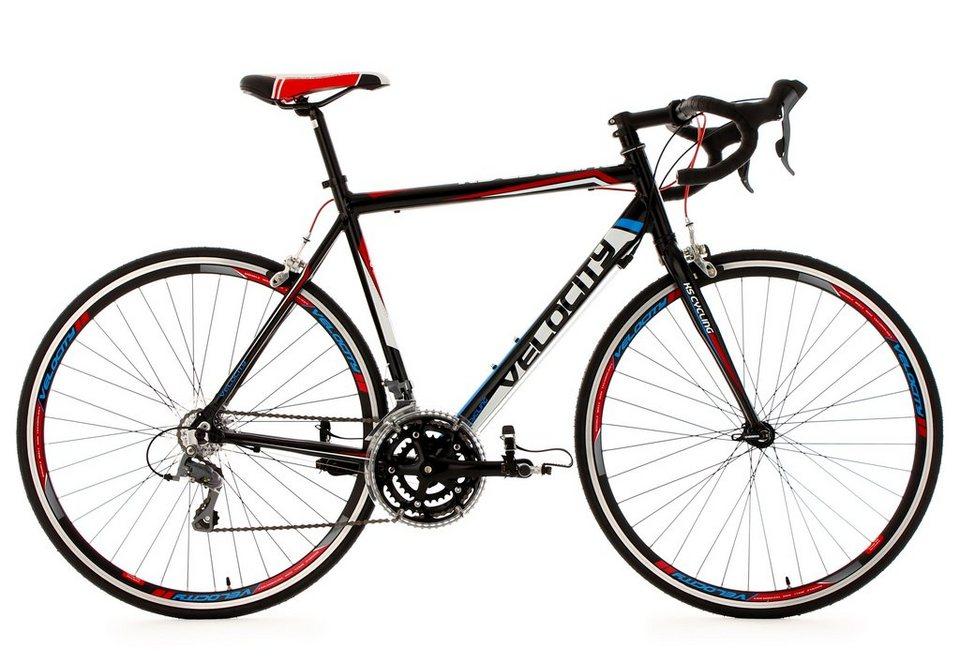 Rennrad, 28 Zoll, schwarz, 24 Gang Kettenschaltung, »Velocity«, KS Cycling in schwarz