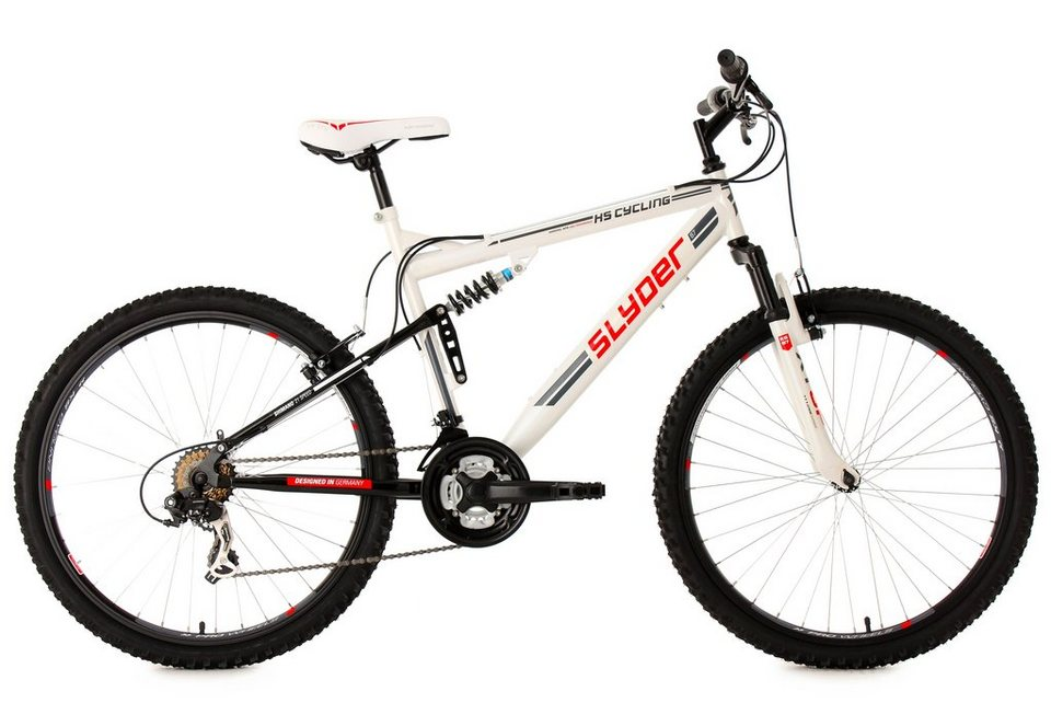 Fully-Mountainbike, 26 Zoll, weiß, 21 Gang Kettenschaltung, »Slyder«, KS Cycling in weiß