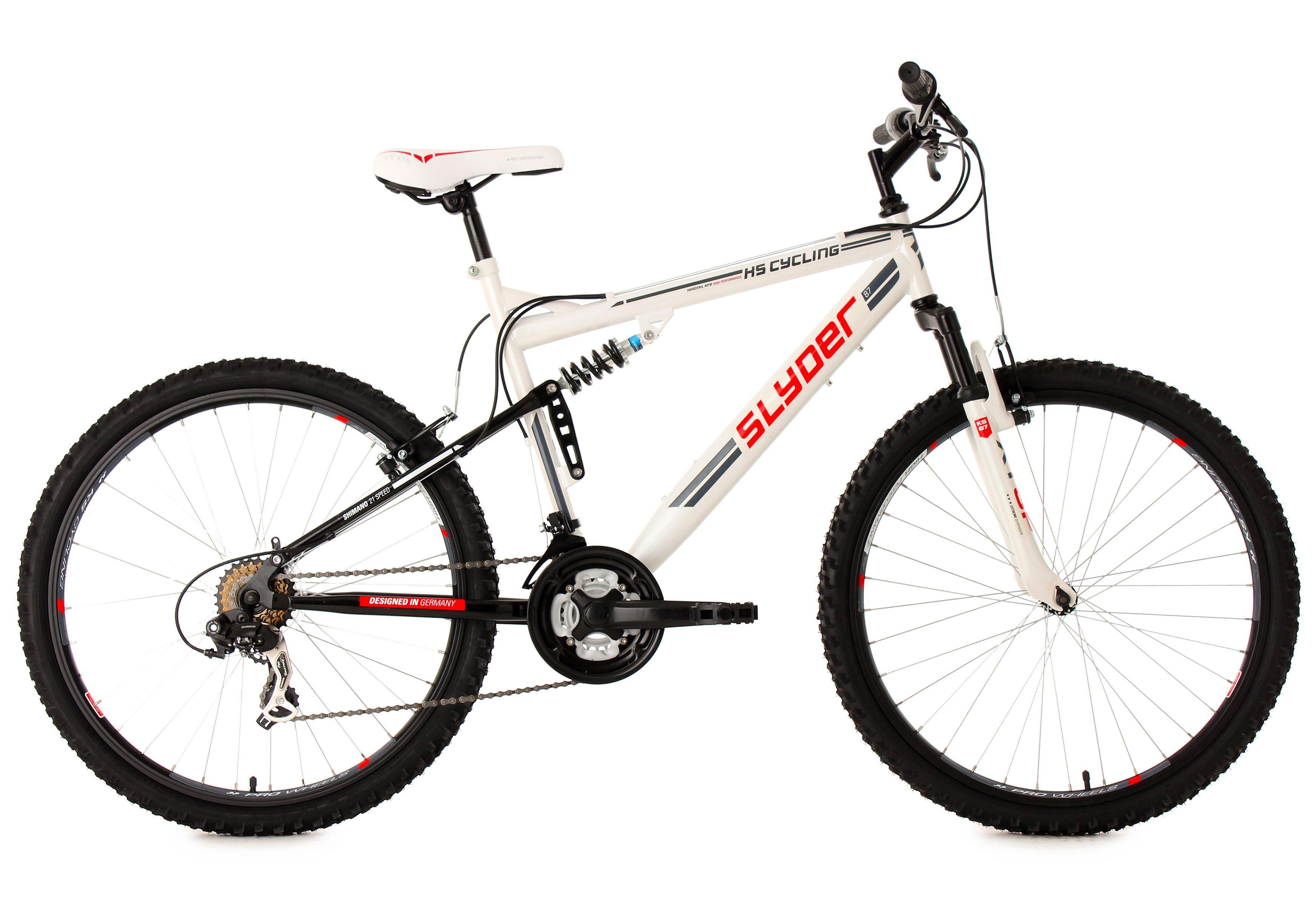 Fully-Mountainbike, 26 Zoll, weiß, 21 Gang Kettenschaltung, »Slyder«, KS Cycling