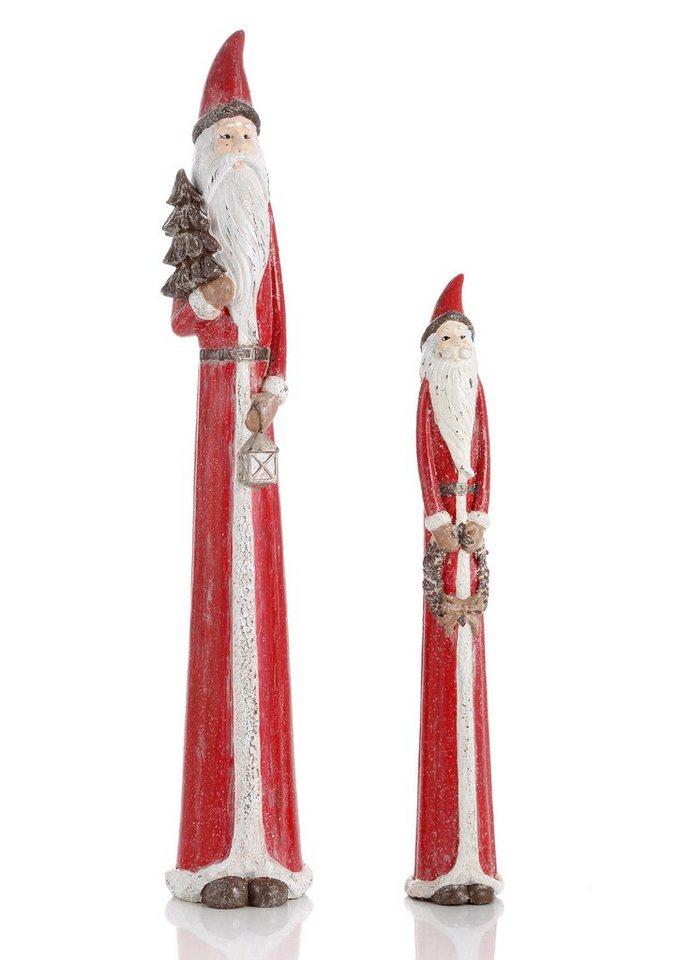 Nostalgie Weihnachtsmänner (2tlg.) in rot/weiß/braun