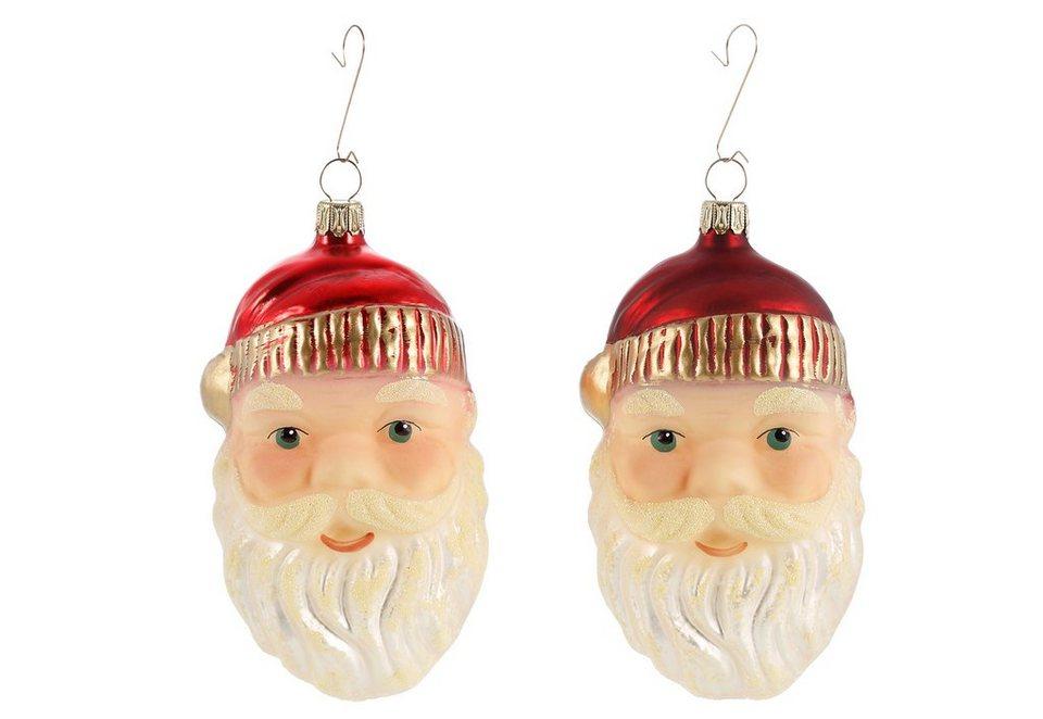 Thüringer Glasdesign Set: TGS-Christbaumschmuck Santa Gesicht »Advent« (2tlg.) in rot/gold/grün