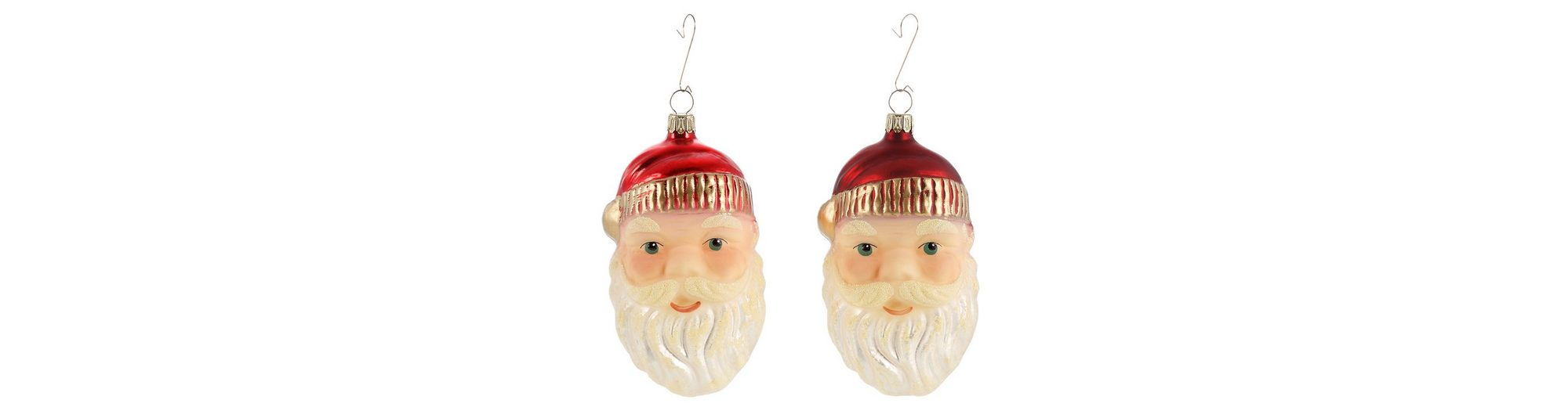 Thüringer Glasdesign Set: TGS-Christbaumschmuck Santa Gesicht »Advent« (2tlg.)