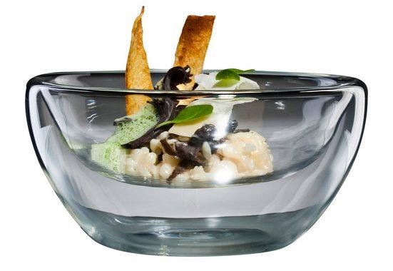 Bloomix Thermoschüssel »Flatbowl Grande«, Glas, (Set, 4-tlg), für Speisen
