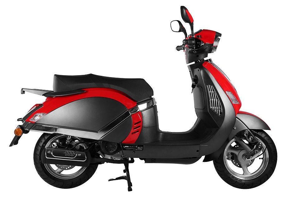 Motoworx Motorroller, 50 ccm, 3,03 PS, 45 km/h, für 2 Personen, schwarz-rot, »Scholli«
