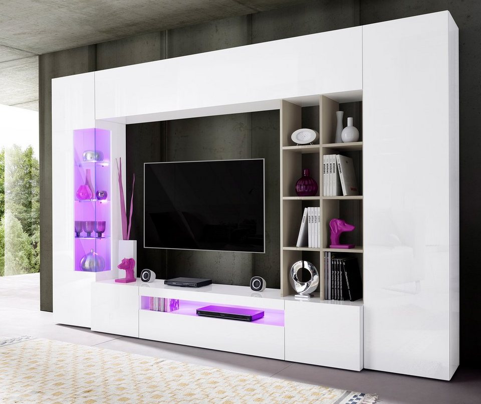 Wohnwand weiß hochglanz otto  Tecnos Wohnwand (5-tlg.) online kaufen | OTTO