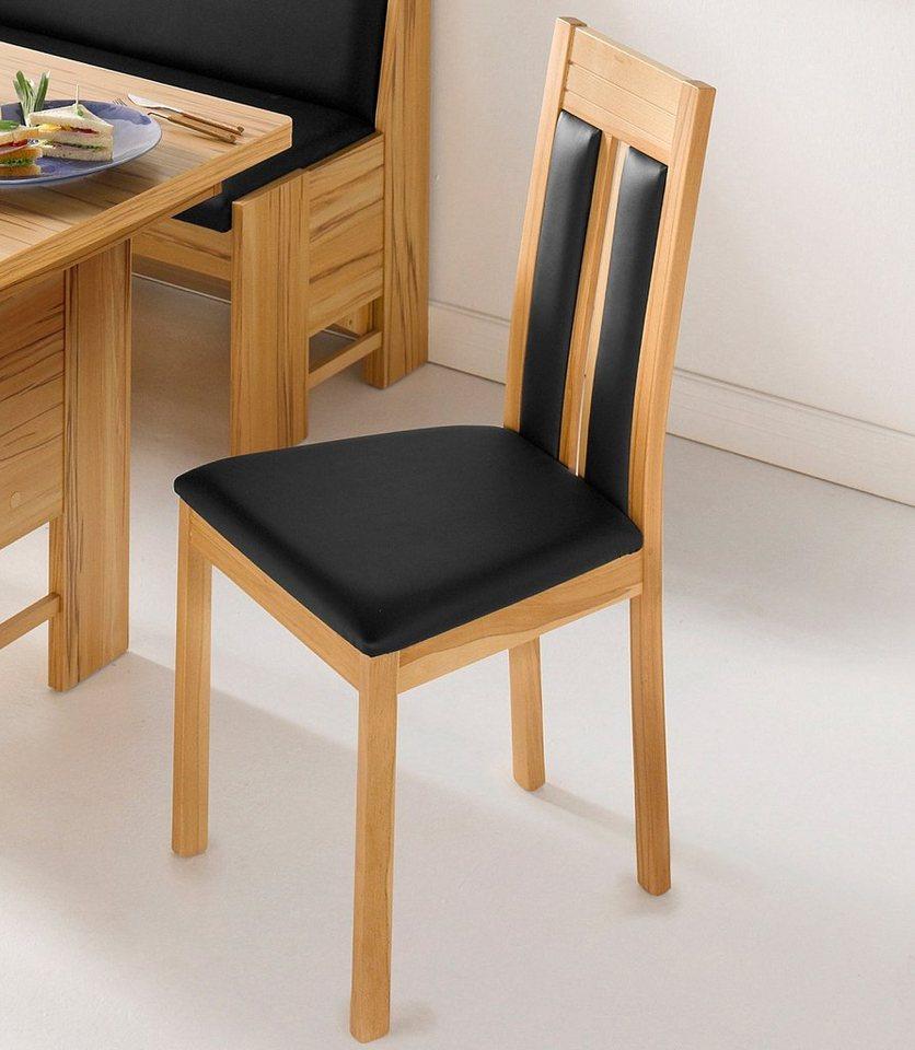 Schösswender Stühle (2 Stück) in kernbuchefarben/schwarz Kunstleder