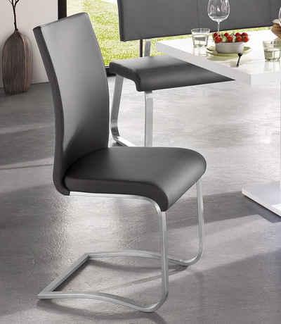 MCA furniture Freischwinger »Arco« (Set, 2 Stück), Stuhl mit Echtlederbezug, belastbar bis 130 Kg