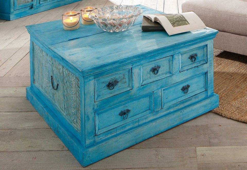 SIT Couchtischtruhe »Blue«, Breite 90 cm in blue washed