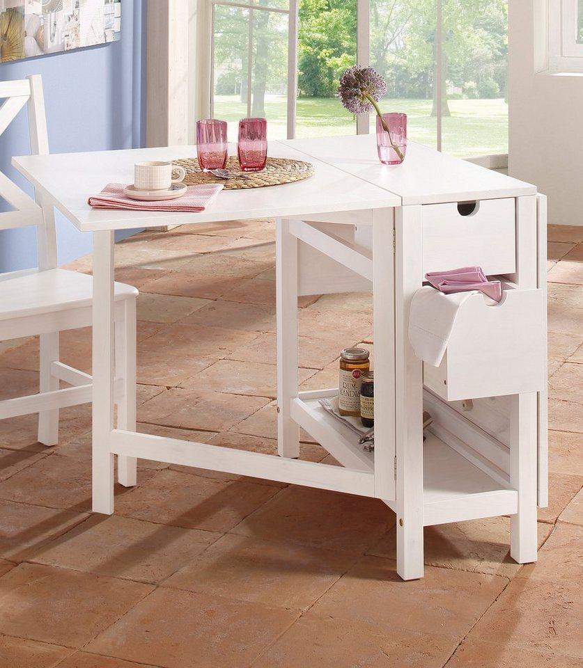 Home affaire Klapptisch »Lily« mit Schubladen in Weiß