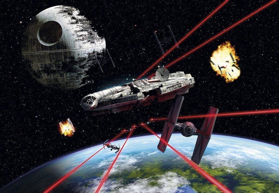 Komar, Papiertapete, »Star Wars Millennium Falcon«, 368/254 cm in schwarz/rot