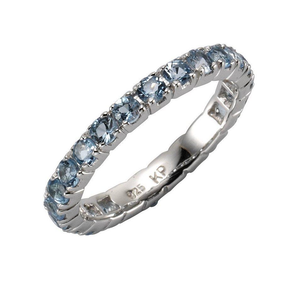 Zeeme Ring »925/- Sterling Silber Blautopas« in weiß