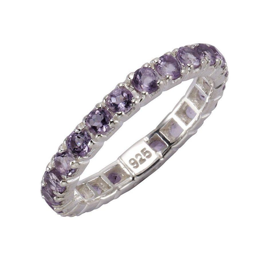 Zeeme Ring »925/- Sterling Silber rhodiniert Amethyst« in weiß