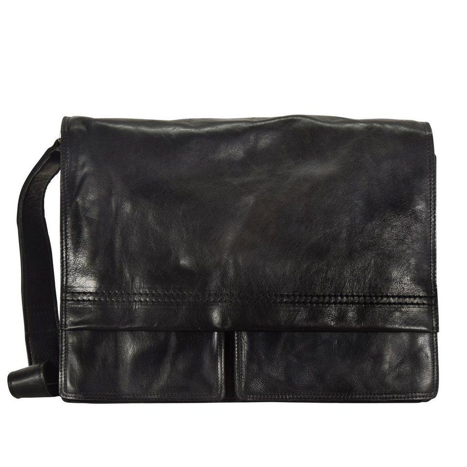 Harold's Saddle Messenger Leder 38 cm Laptopfach in schwarz
