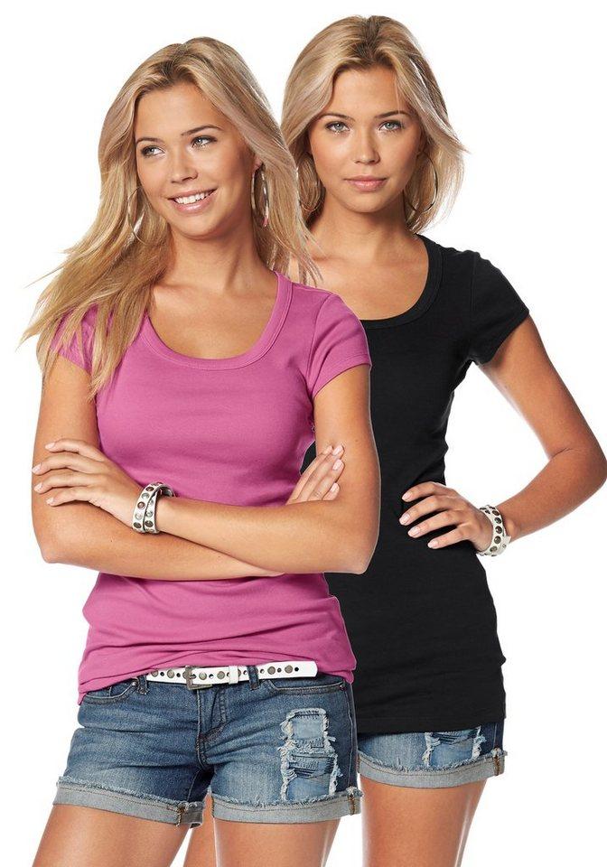 Flashlights T-Shirt in Longform in pink+schwarz