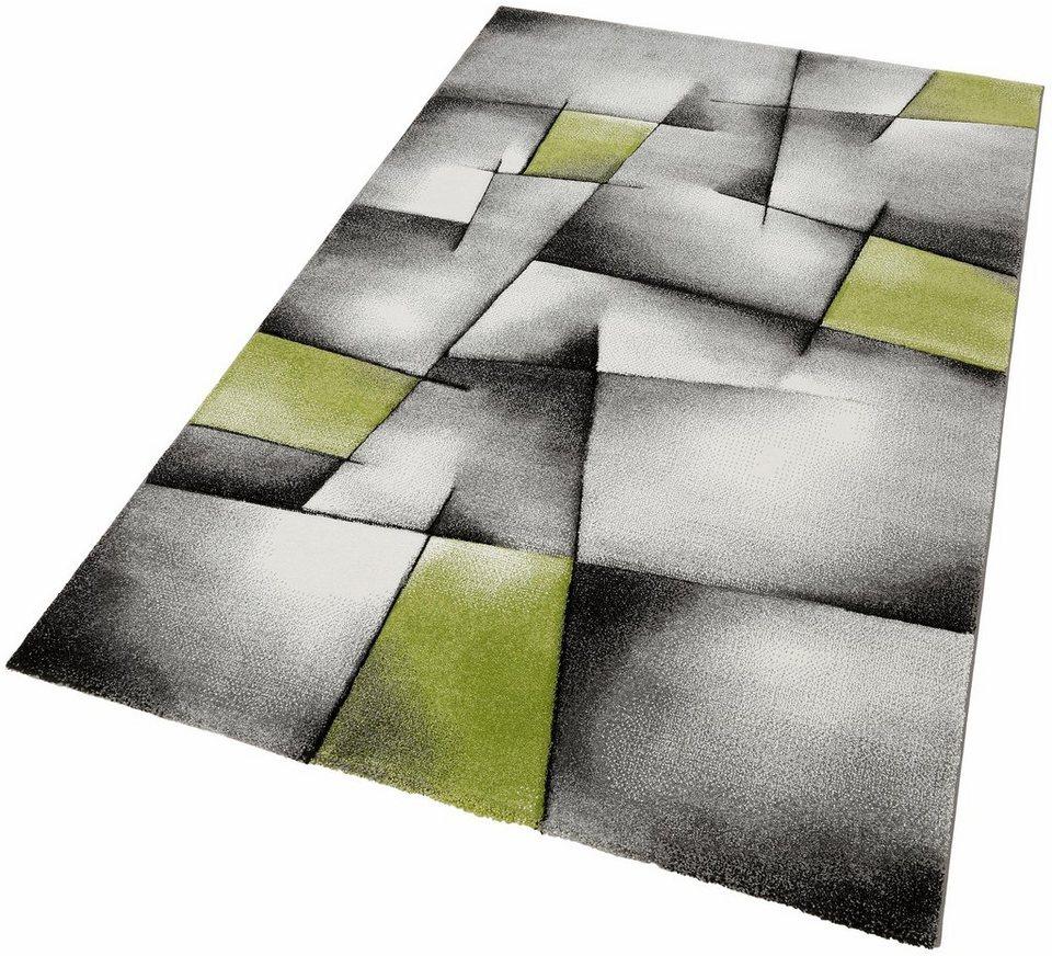 Teppich, Merinos, »BRILLIANCE«, Handgearbeiteter Konturenschnitt in grün