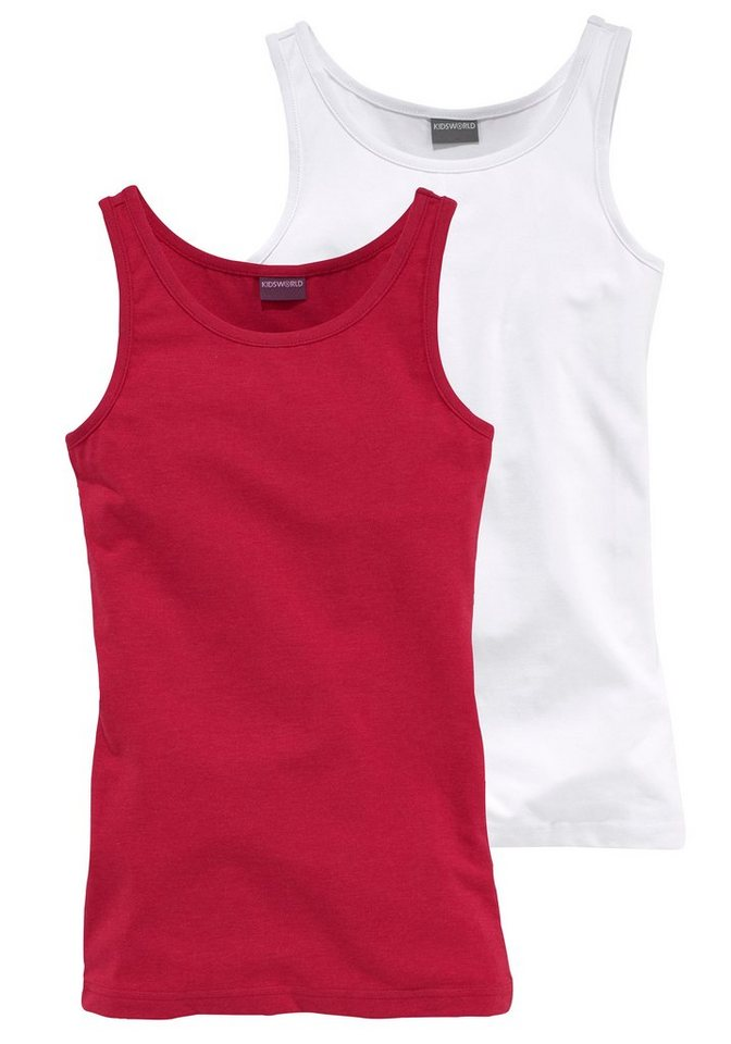 KIDSWORLD Longtop (Packung, 2 tlg.) in rot-meliert+weiß