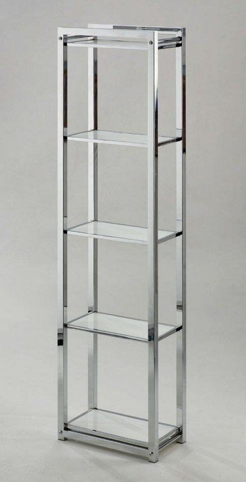 Regal »Caro«, 30/17 cm, mit 5 Böden in chromfaben/weiß