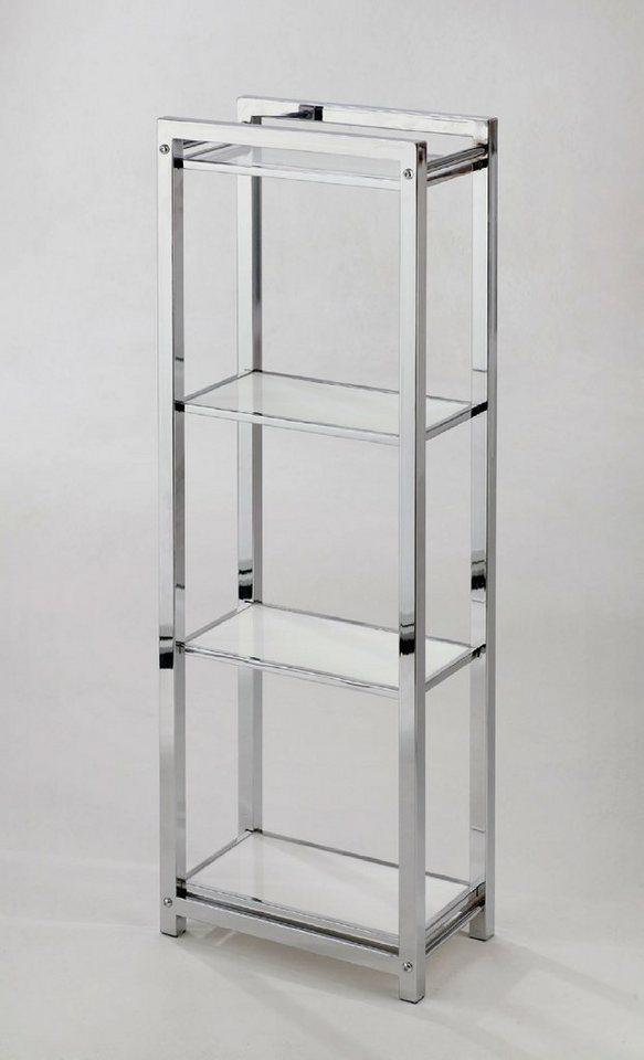 Regal »Caro«, 30/17 cm, mit 4 Böden in chromfarben/weiß
