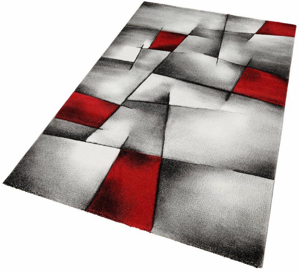 Teppich, Merinos, »BRILLIANCE«, Handgearbeiteter Konturenschnitt in rot