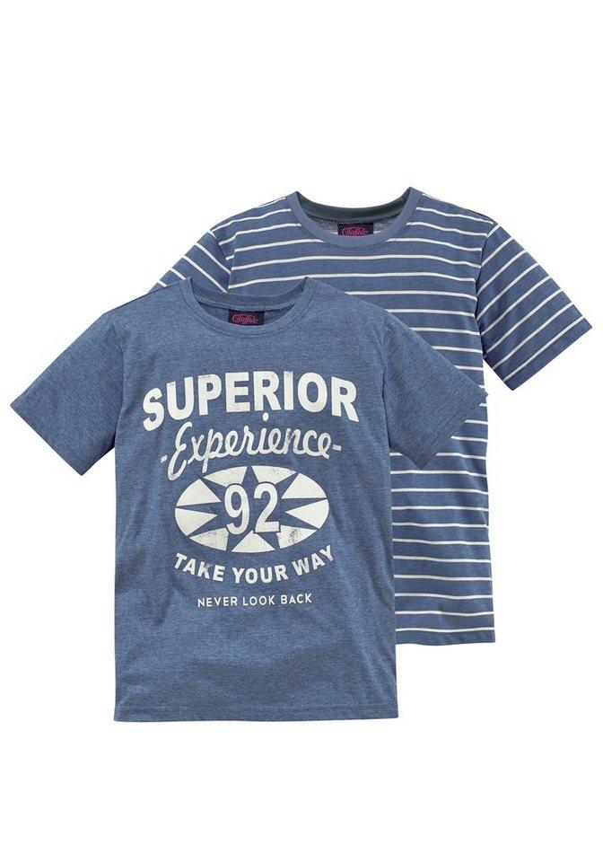Buffalo T-Shirt (Packung, 2 tlg.) in blau-meliert+blau-geringelt