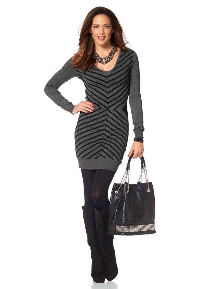 Melrose Strickkleid mit graphischem Muster in grau-schwarz