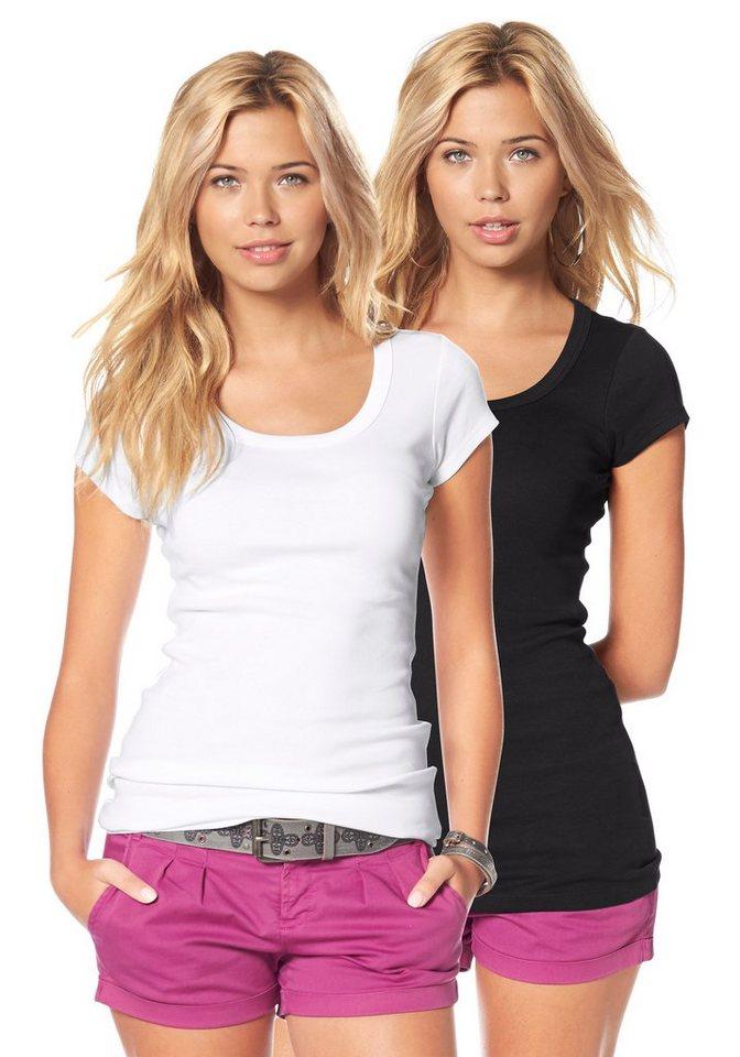 Flashlights T-Shirt in Longform in weiß+schwarz