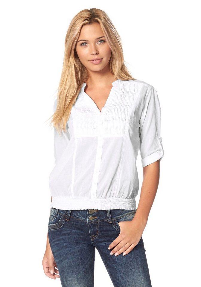LTB Klassische Bluse »Nadila« Bieseneinsatz vorne in weiß