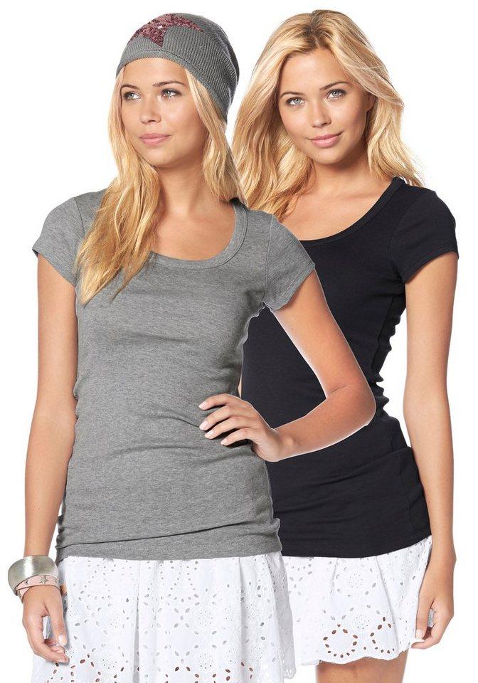AJC T-Shirt in Longform in grau-meliert+schwarz