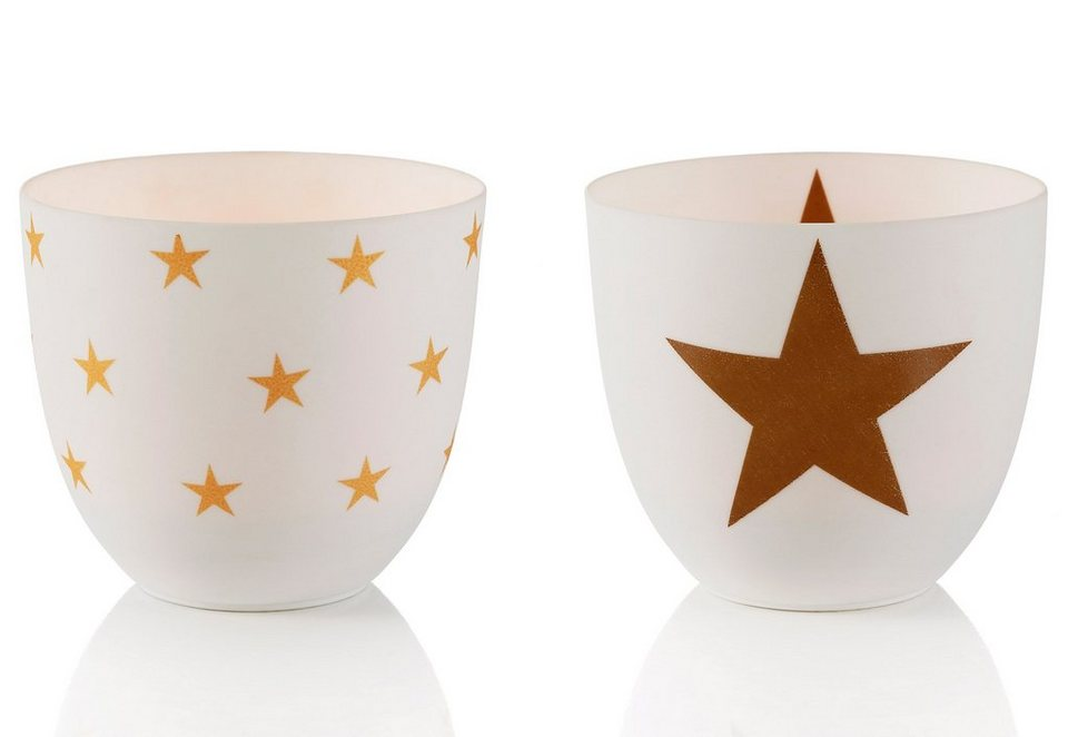 Teelichthalter, 2-teilig, »STERN« in weiß mit goldfarbenen Stern