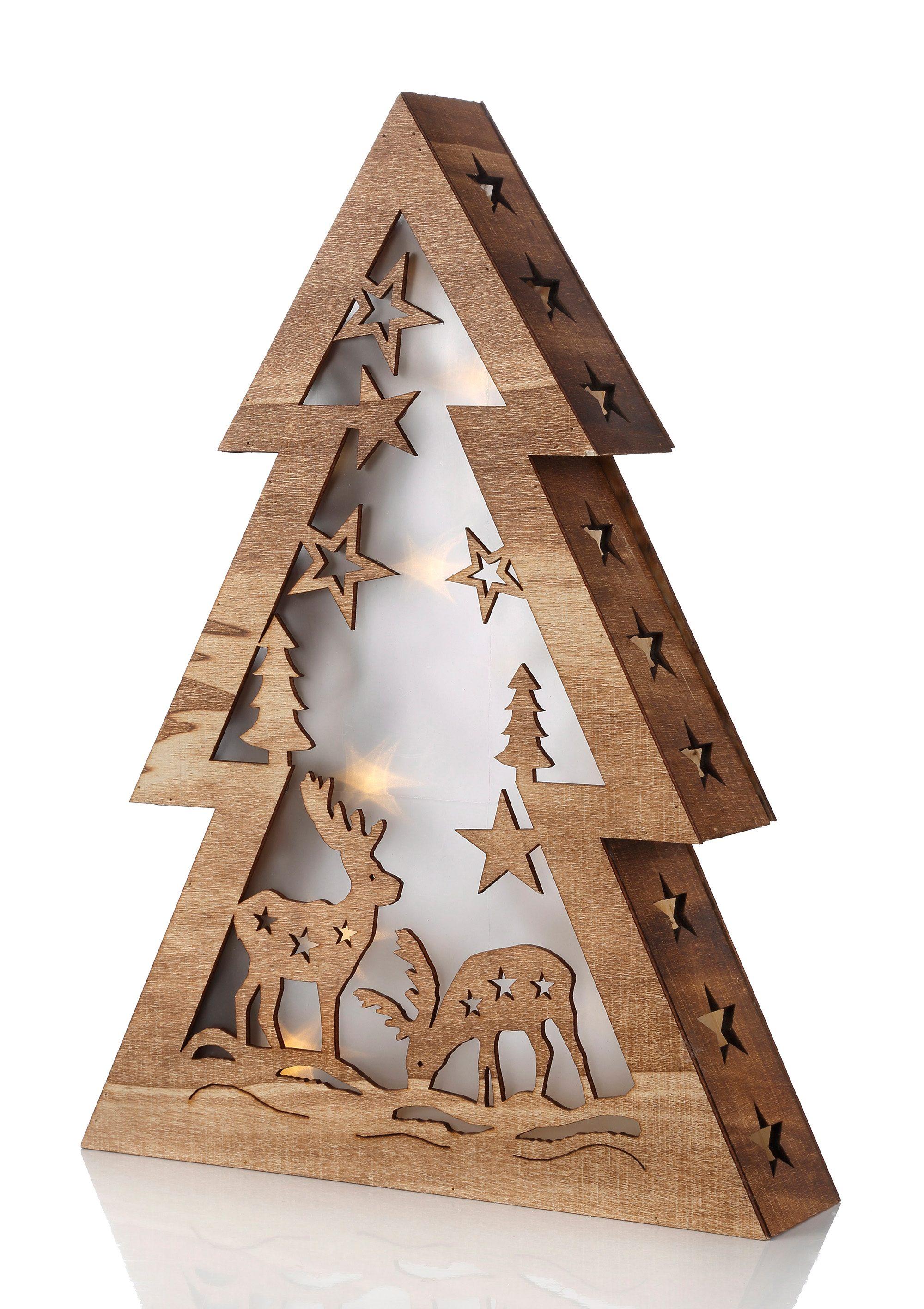 Christmaxx LED Holztannenbaum, »Winterwald«