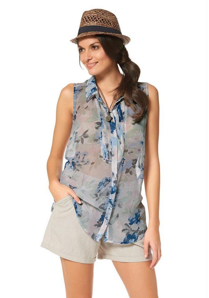 Tamaris Hemdbluse in wollweiß-bedruckt