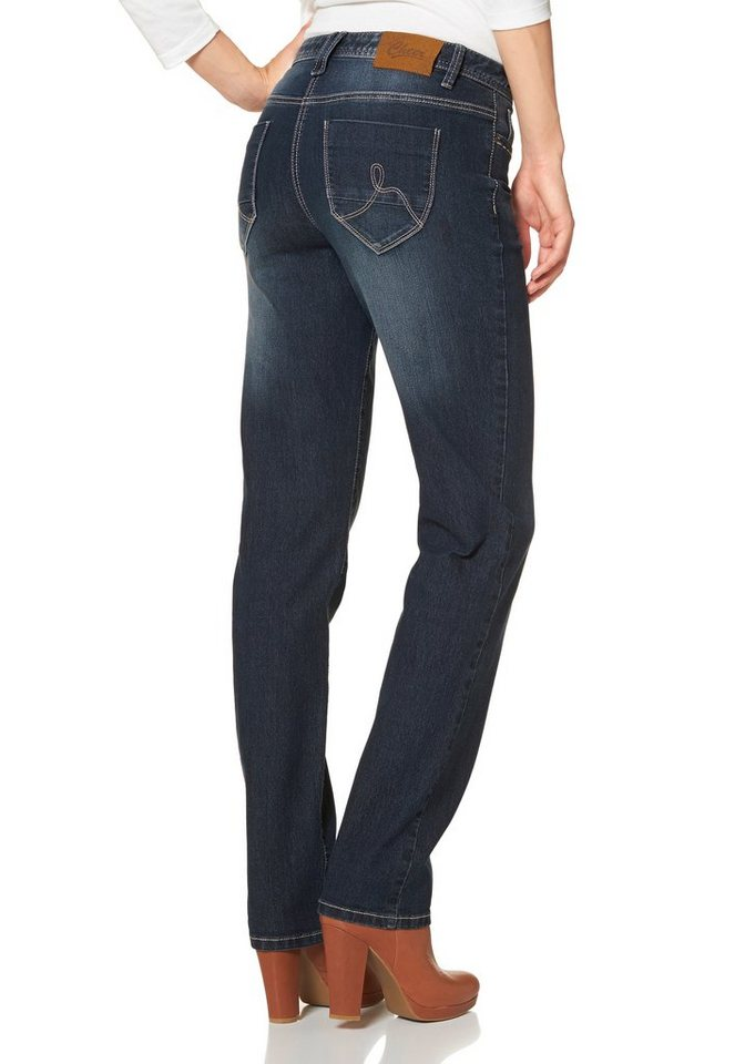 Cheer Gerade Jeans »Lena« in Used-Waschung in darkblue