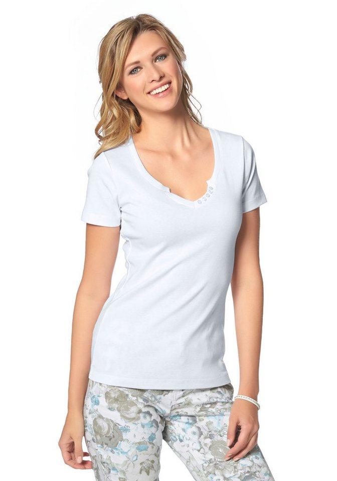 Cheer T-Shirt mit Zierknöpfen am Ausschnitt in weiß