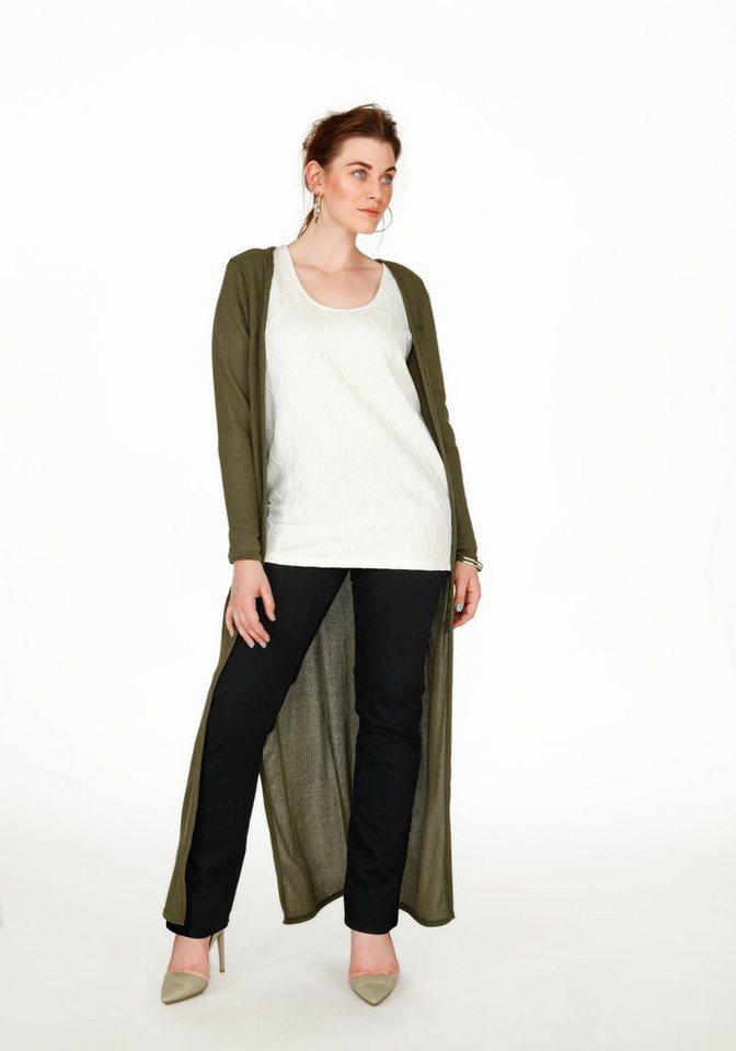 sheego Trend Langer Shirtmantel in dunkeloliv