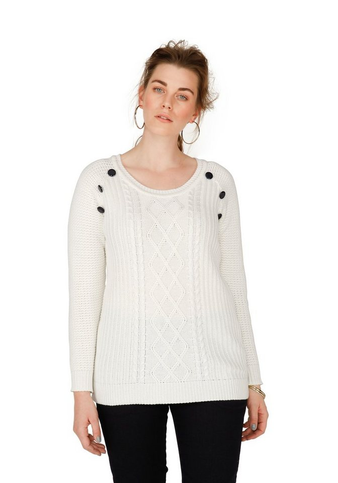 sheego Trend Pullover in offwhite