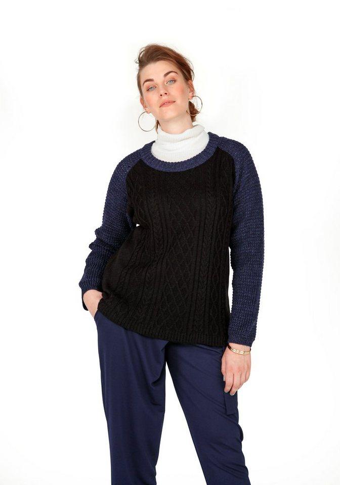 sheego Trend Pullover in schwarz-marine