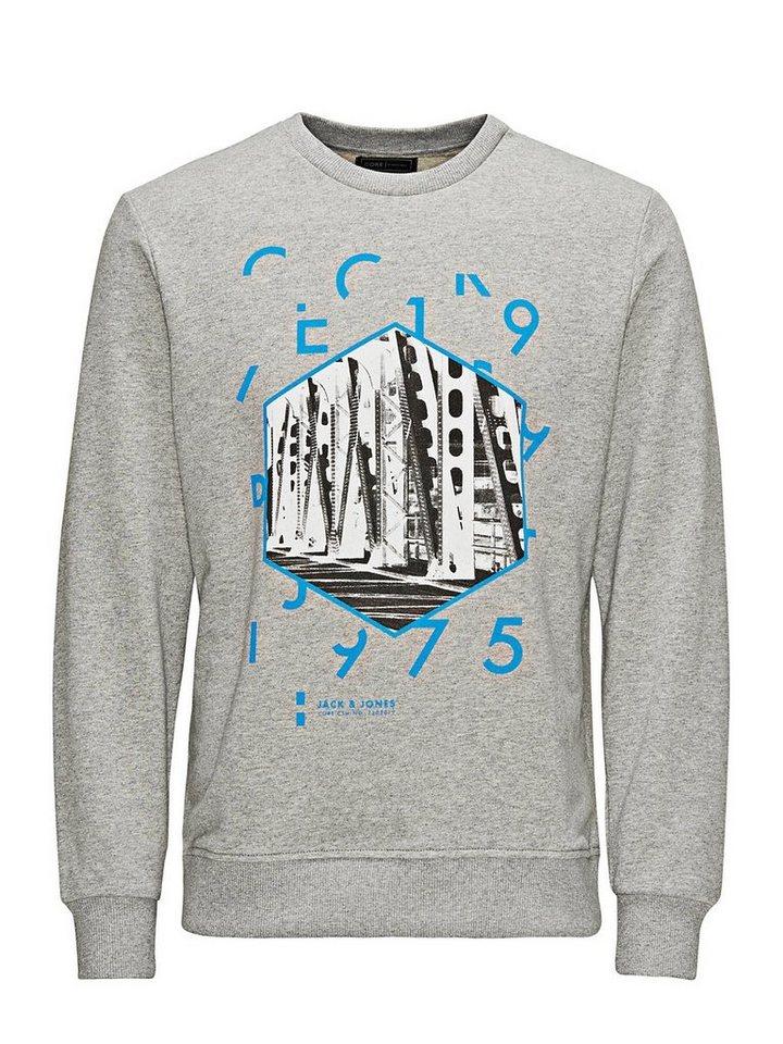 Jack & Jones Klassisch bedrucktes Sweatshirt in Light Grey Melange