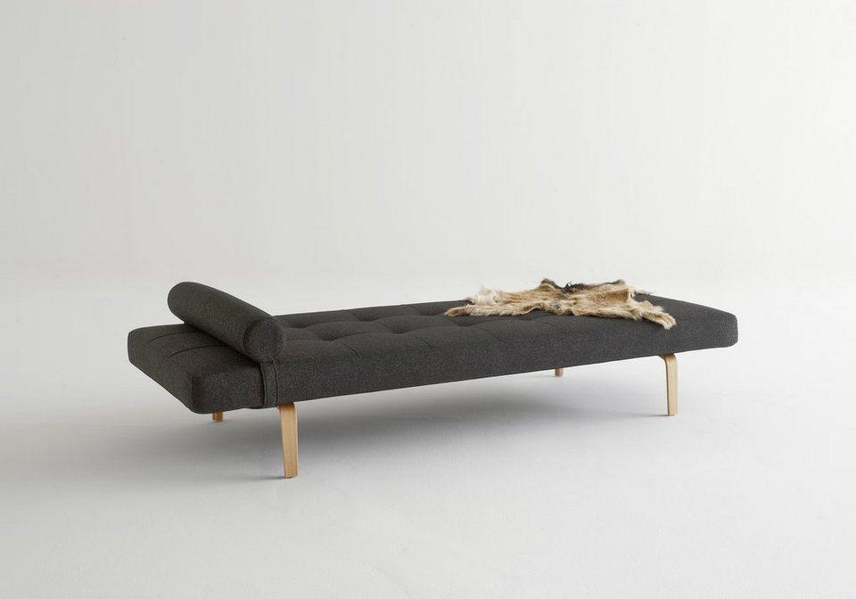 INNOVATION™ Relaxliege »Napper«, Scandinavian Design, Styletto Beine, mit flexibler Kissenrolle in grey