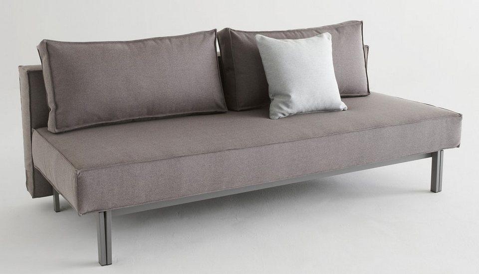 INNOVATION™ Schlafsofa »Sly«, Metallbeine grau, inklusive 2 Rückenkissen in denim grey