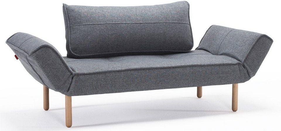INNOVATION™ Schlafsofa »Zeal« im Scandinavian Design, Bow Beine, inklusive Rückenkissen in denim grey