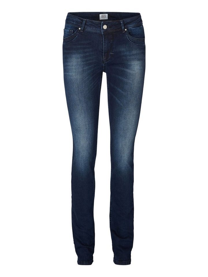 Vero Moda Flashy NW Straight fit jeans in Dark Blue Denim