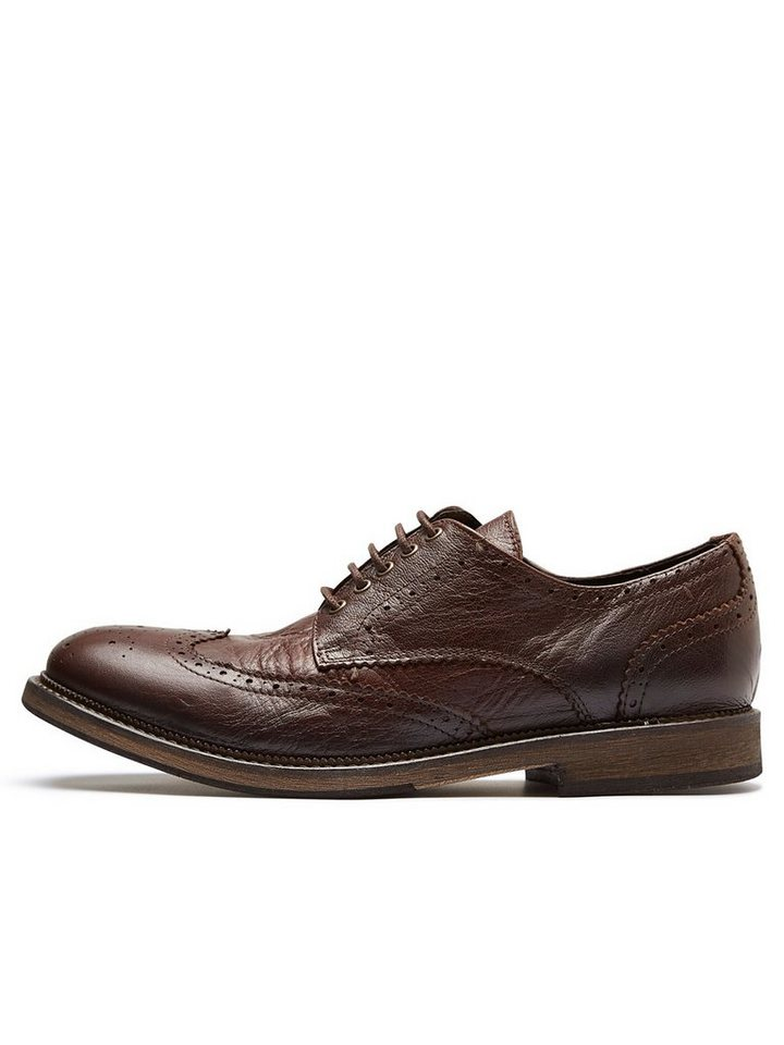 Selected Leder- Brogue-Schuhe in Cognac