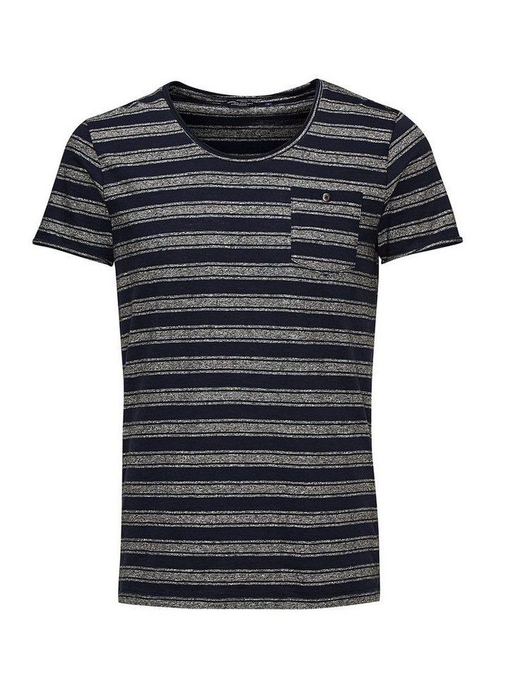 Jack & Jones Gestreiftes Slim Fit- T-Shirt in Grey Melange