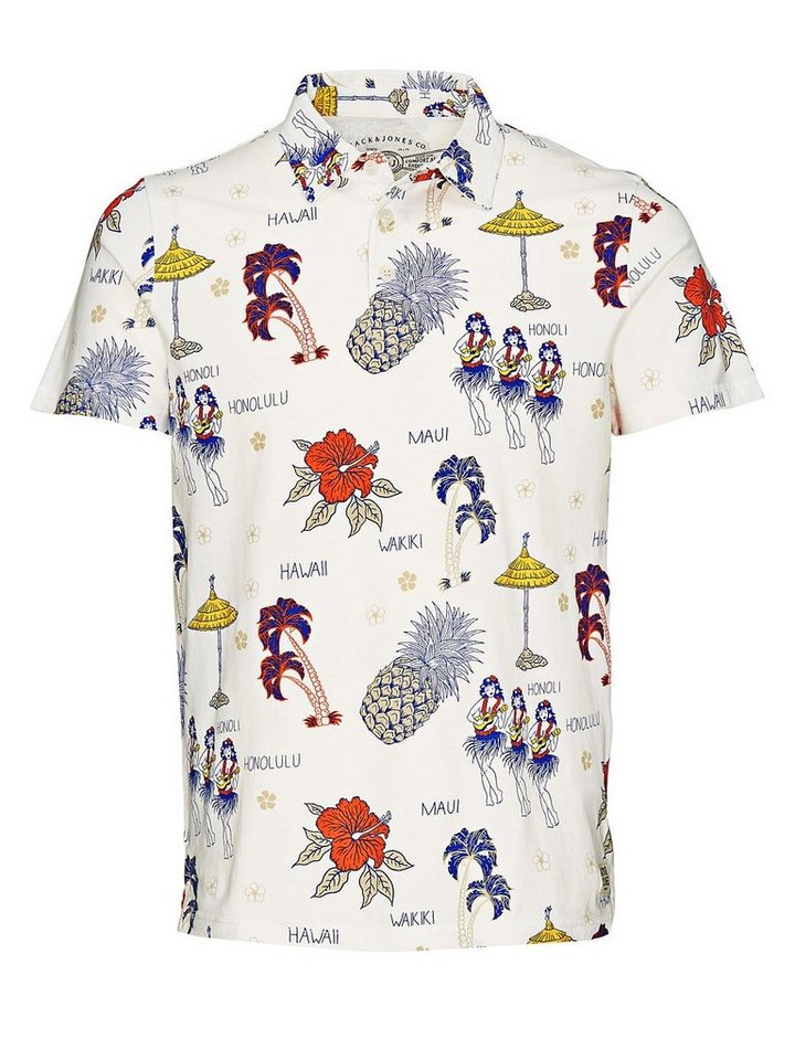 Jack & Jones Blumenaufdruck Poloshirt in Cloud Dancer