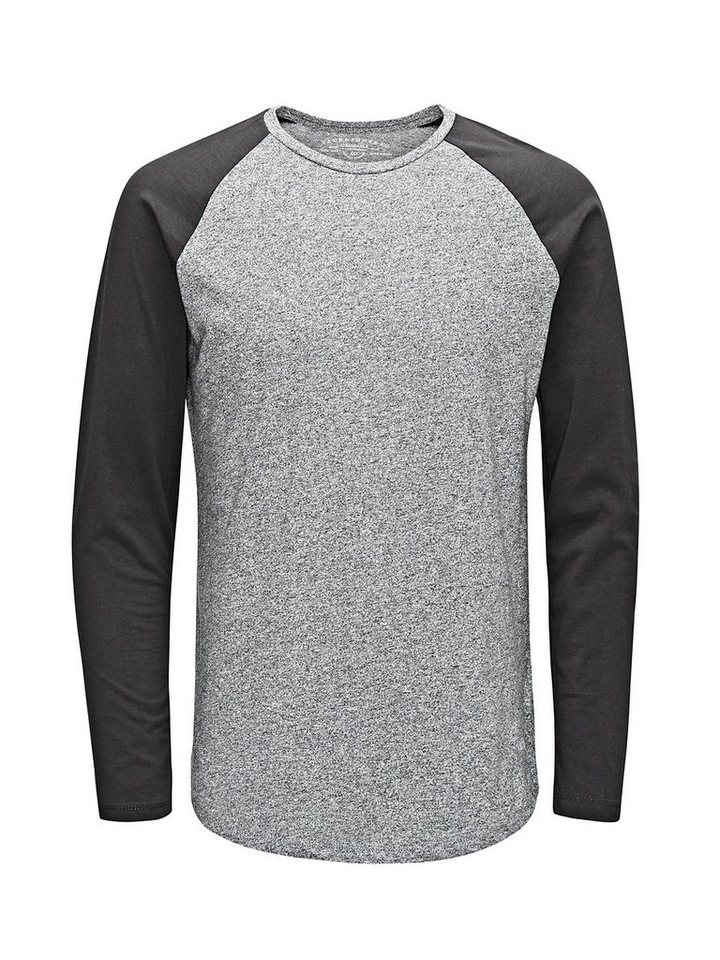 Jack & Jones Raglan, Regular Fit T-Shirt mit langen Ärmeln in Grey Melange