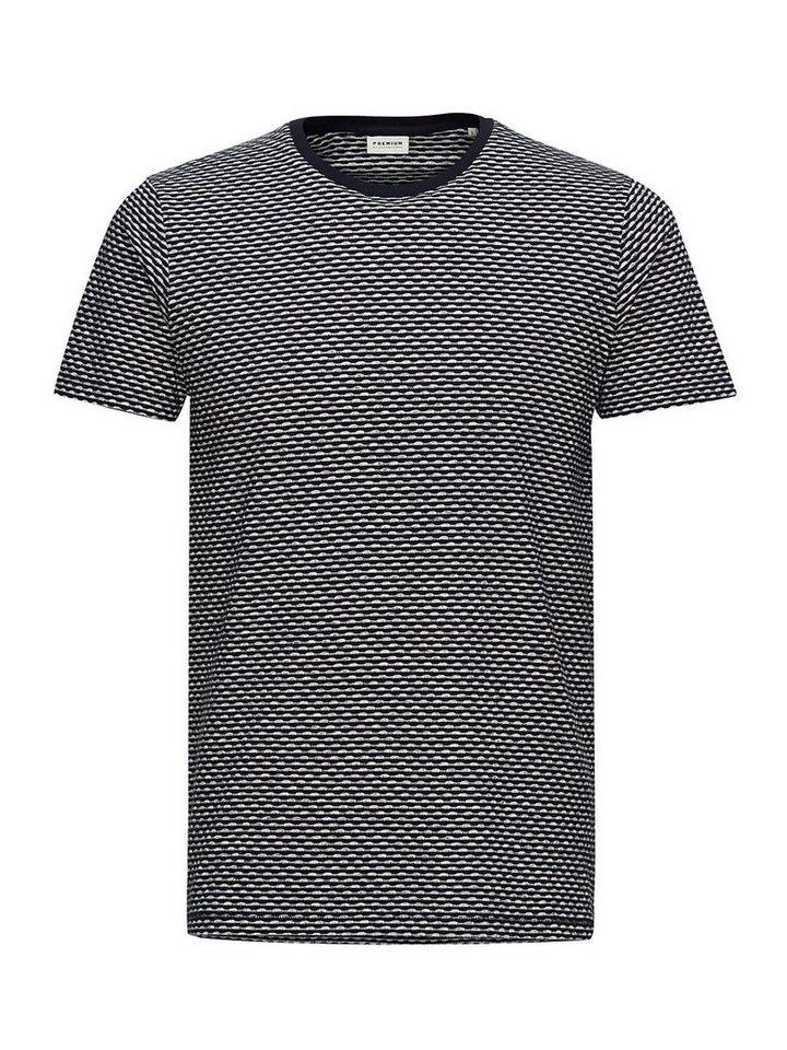 Jack & Jones Gemustertes Slim-Fit- T-Shirt in Whisper White