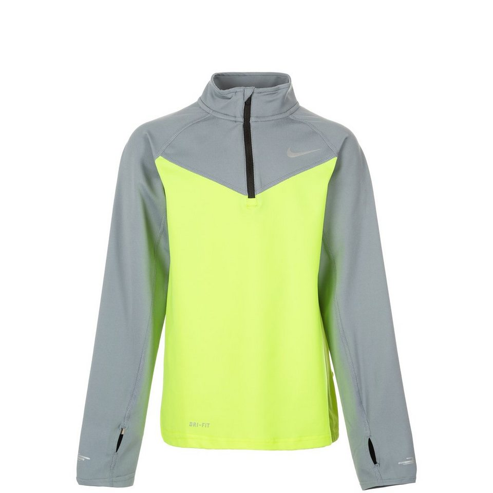 NIKE Element Halfzip Laufshirt Kinder in lime / grau