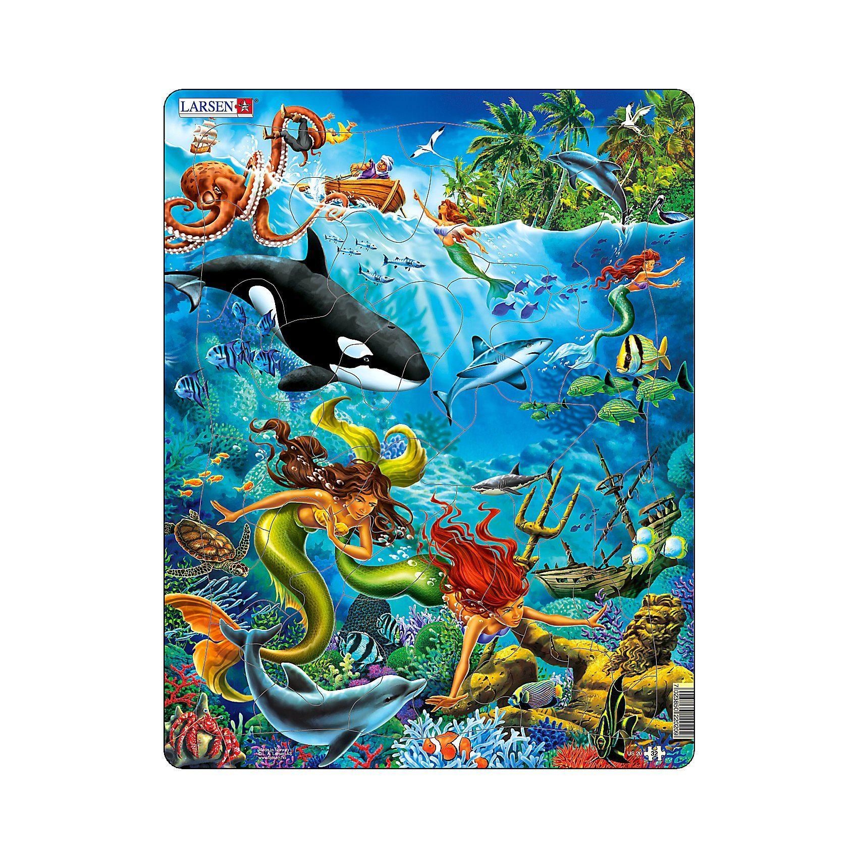 Larsen Rahmenpuzzle 32 Teile Meerjungfrau Unterwasserwelt