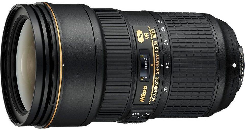 Nikon AF-S NIKKOR 24-70mm 1:2.8E ED VR Standardzoom Objektiv in schwarz