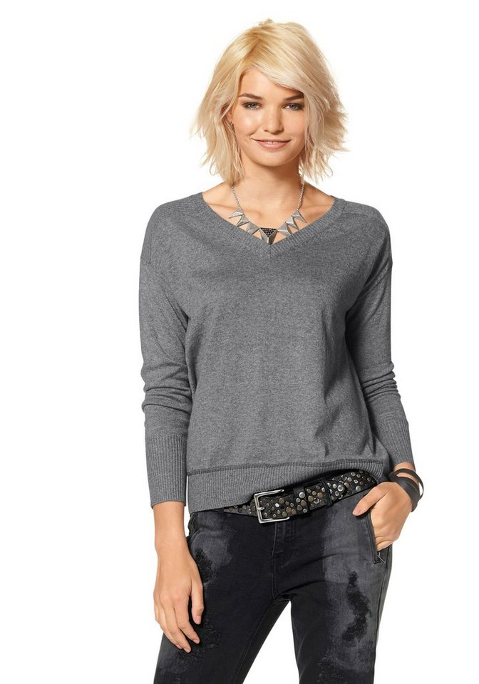 Laura Scott V-Ausschnitt-Pullover in grau